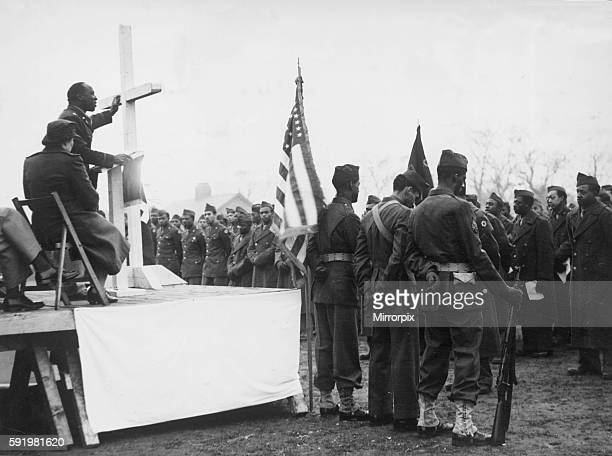 A Sunrise service held on the baseball ground of a US army camp near Liverpool on easter Sunday for black American troops during the Second World War...