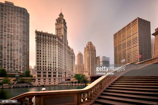 Sunrise shot of Magnificent Mile and Wrigley Building in Chicago