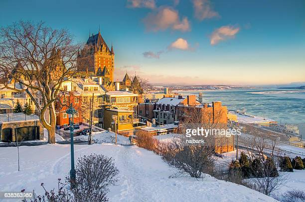 Sunrise shot of Quebec City near St.Lawrence river