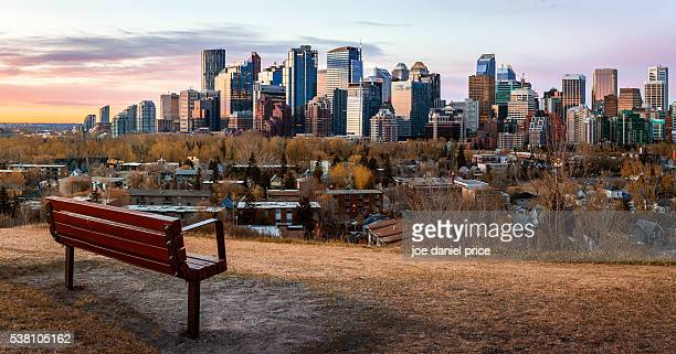 sunrise, skyline, bench, calgary, alberta, canada - calgary stock pictures, royalty-free photos & images