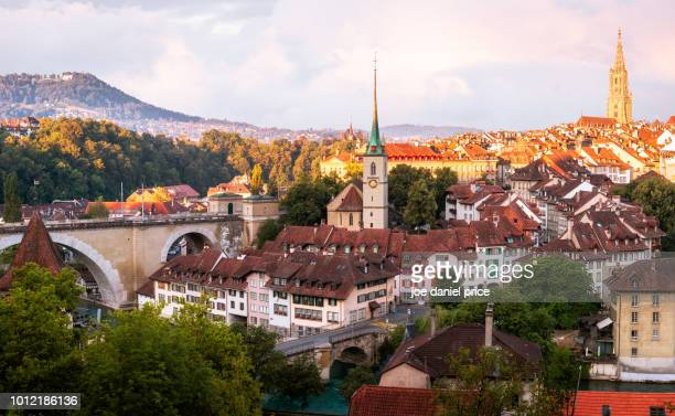 sunrise, skyline, bern, switzerland - switzerland stock pictures, royalty-free photos & images