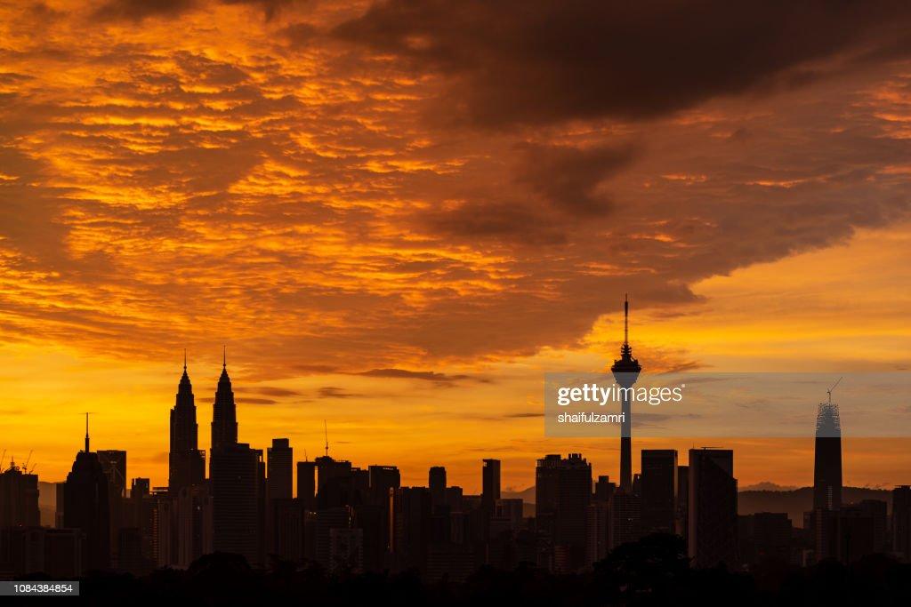 Sunrise skyline of Kuala Lumpur city. : Stock Photo