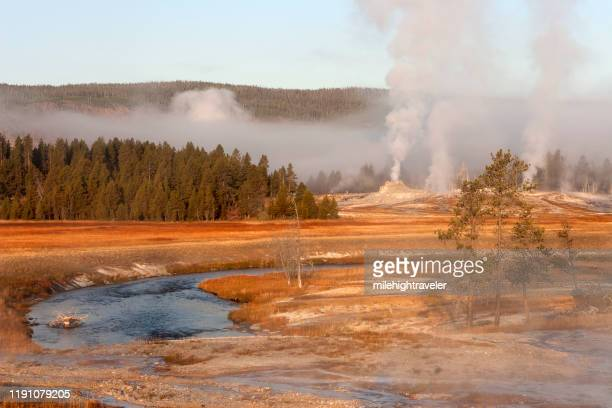 sunrise steam over castle geyser firehole river upper geyser basin yellowstone national park - milehightraveler stock pictures, royalty-free photos & images
