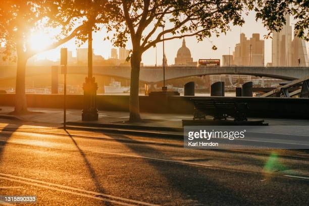 a sunrise surface level view of the london skyline - stock photo - winter stock pictures, royalty-free photos & images