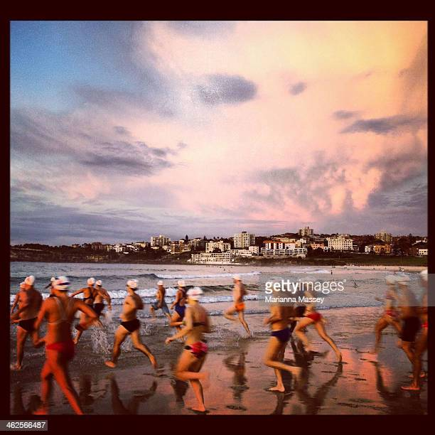 Sunrise swimmers head into the water at Bondi Beach.