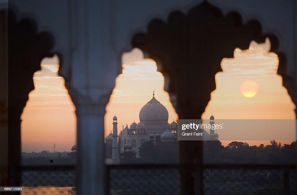 Sunrise Taj Mahal. : Stock Photo