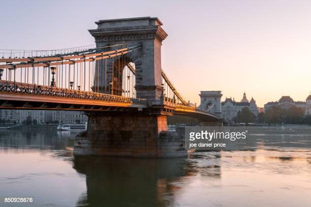 Sunrise The Széchenyi Chain Bridge Budapest Hungary