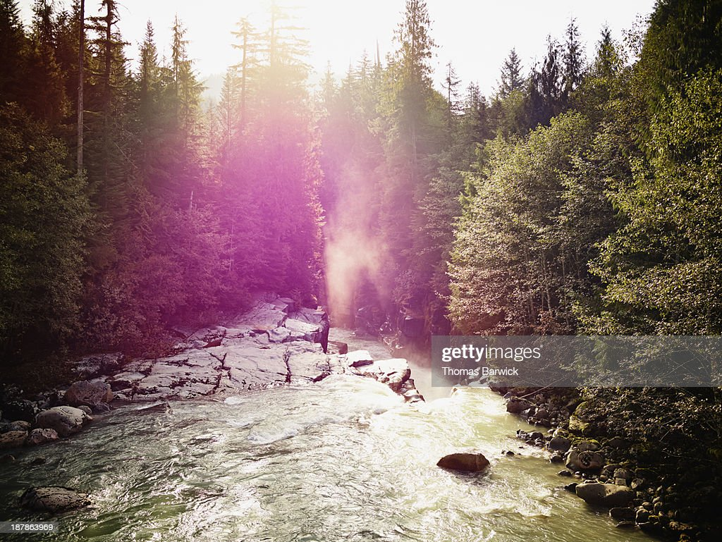 Sunrise through canyon on Ashlu River : Stock Photo