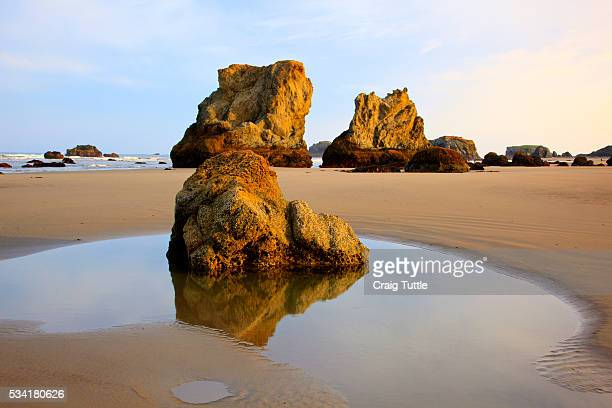 Sunrise tide pools at low tide, Bandon Beach, Oregon, USA