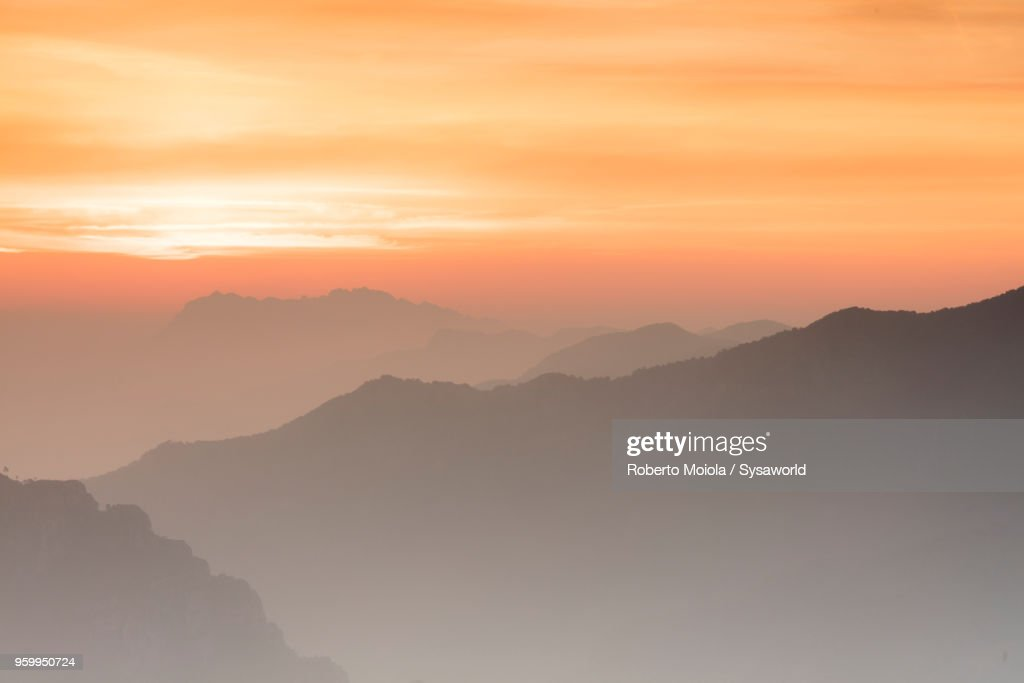 Sunrise towards Orobie Alps, Italy : Stock-Foto