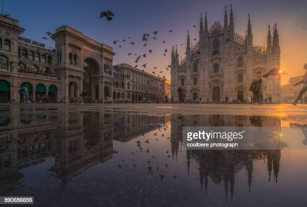 sunrise view at duomo cathedral - milan stock pictures, royalty-free photos & images