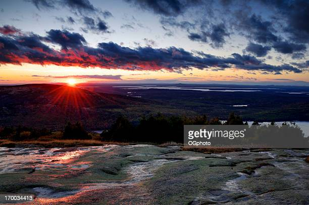 Sunrise view from Cadillac Mountain, Acadia National Park, Maine