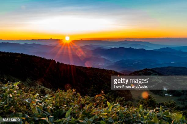 sunrise view from shibu pass - gunma prefecture stock photos and pictures
