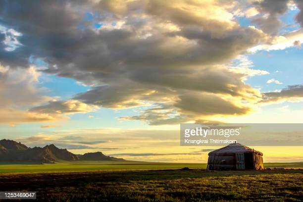 sunrise view in the rural in mongoli.. - yurt stock pictures, royalty-free photos & images