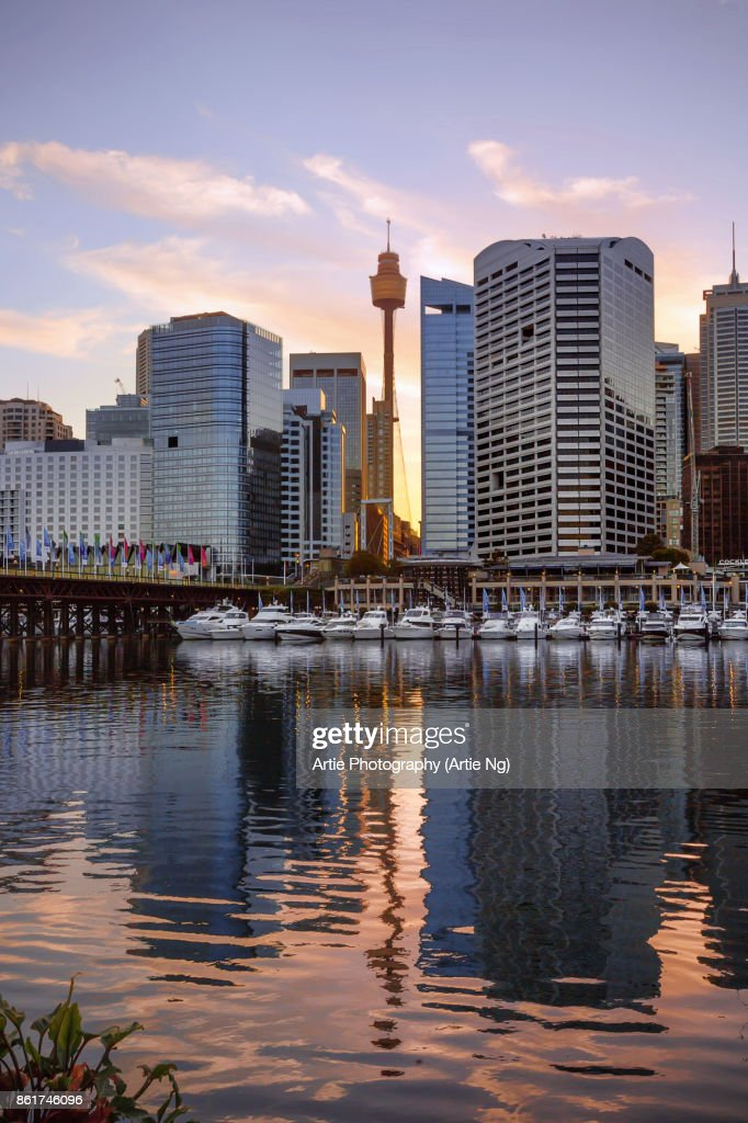 Sunrise View of Cockle Bay Wharf in Darling Harbour and Sydney Tower Eye, New South Wales, Australia : Stock Photo