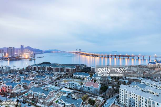 sunrise view of Dalian Xinghai Bay Bridge