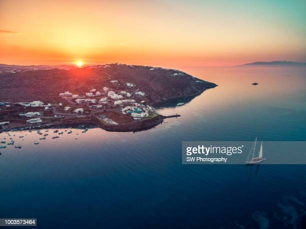 Sunrise view of Mykonos, Greece
