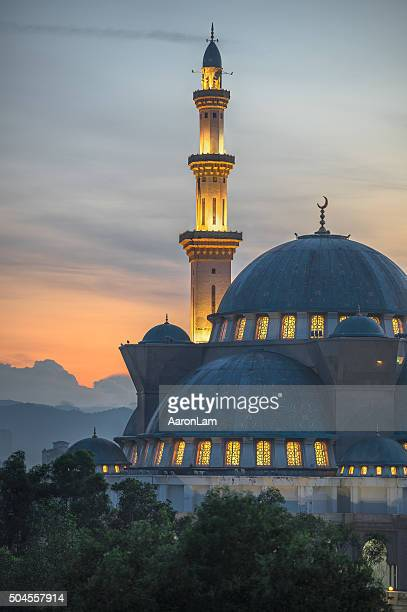 Sunrise view of the Federal Territory Mosque in Kuala Lumpur
