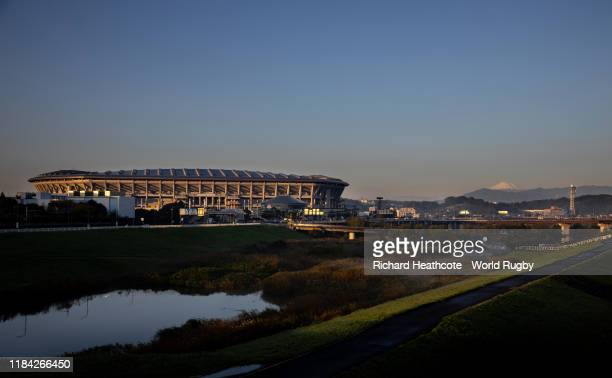 A sunrise view of the Yokohama International Stadium with Mount Fuji in the distance during the Rugby World Cup on October 30 2019 in Yokohama Japan