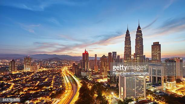 sunrise view over kuala lumpur - malaysia stock pictures, royalty-free photos & images