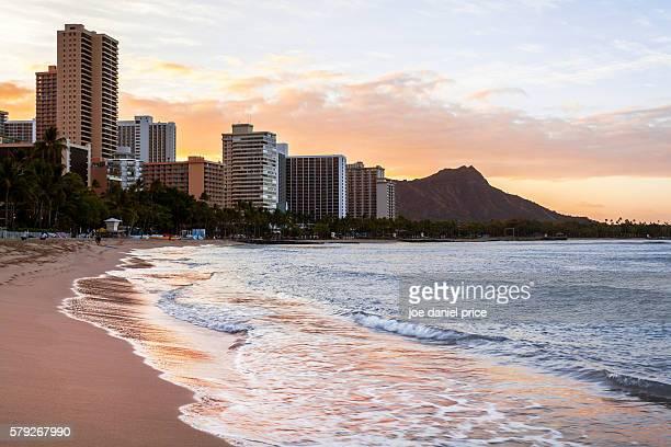 Sunrise, Waikiki Beach, Diamond Head, Volcano, Honolulu, Oahu, Hawaii, America