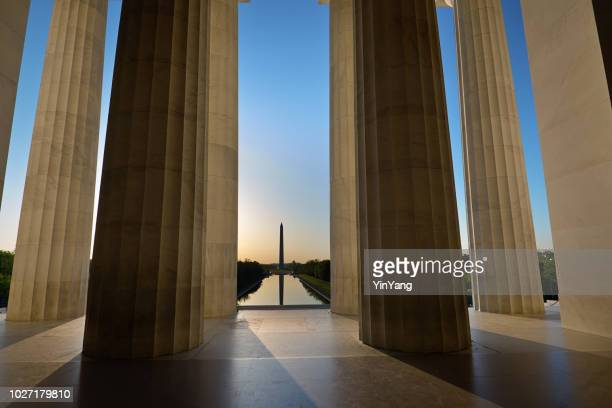 sunrise washington monument viewed from lincoln memorial in washington dc, usa - us president stock pictures, royalty-free photos & images