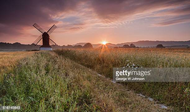sunrise windmill - buckinghamshire stock pictures, royalty-free photos & images