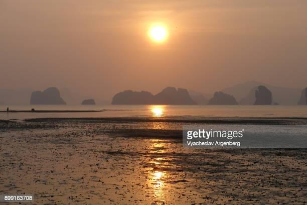 Sunrise with a view on Phang Nga bay islands, Koh Yao Noi, Thailand
