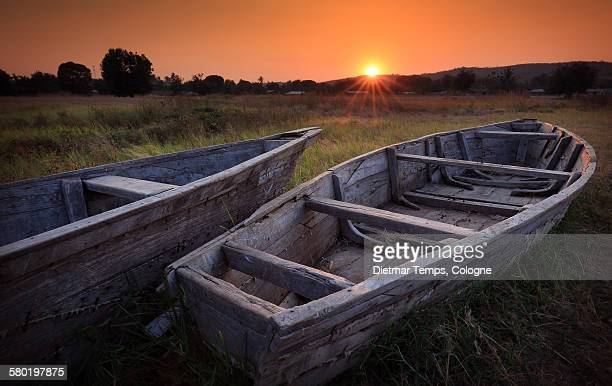 Sunrise with fishing boats, lake Tanganyika