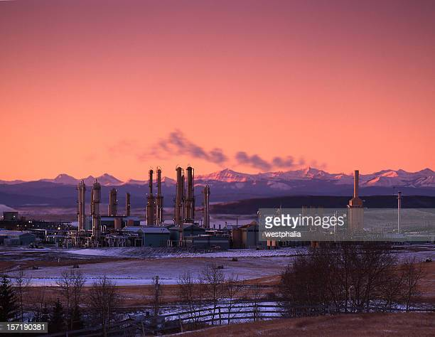 Sunrise with Gas Plant and Mountains