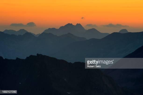 Sunrise with gradation of mountains, Gaschurn, Montafon, Vorarlberg, Austria