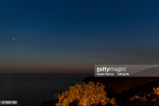 Sunrise with stars in the coastline of New South Wales, Evans Head, Australia