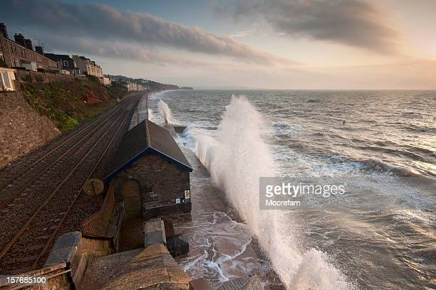 Sunrise with stormy conditions at Dawlish