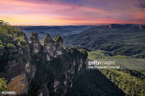 Sunrise with Three Sisters, Blue Mountains, New South Wales, Australia