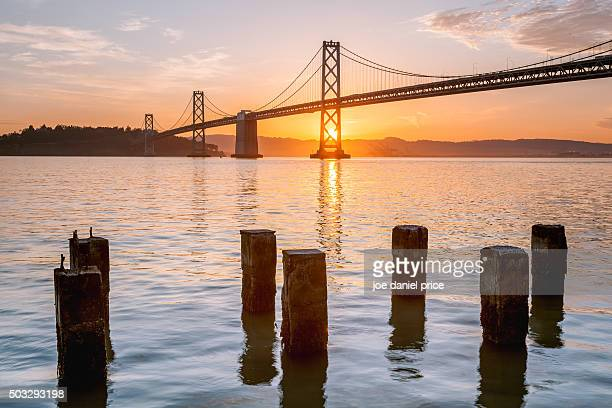 Sunrise, Wooden Posts, Bay Bridge, San Francisco, California, America