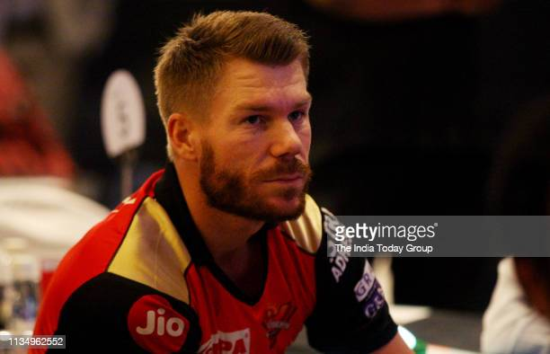 Sunrisers Hyderabad team player, David Warner clicked during a media meet at Hotel Le Meridian, in New Delhi.