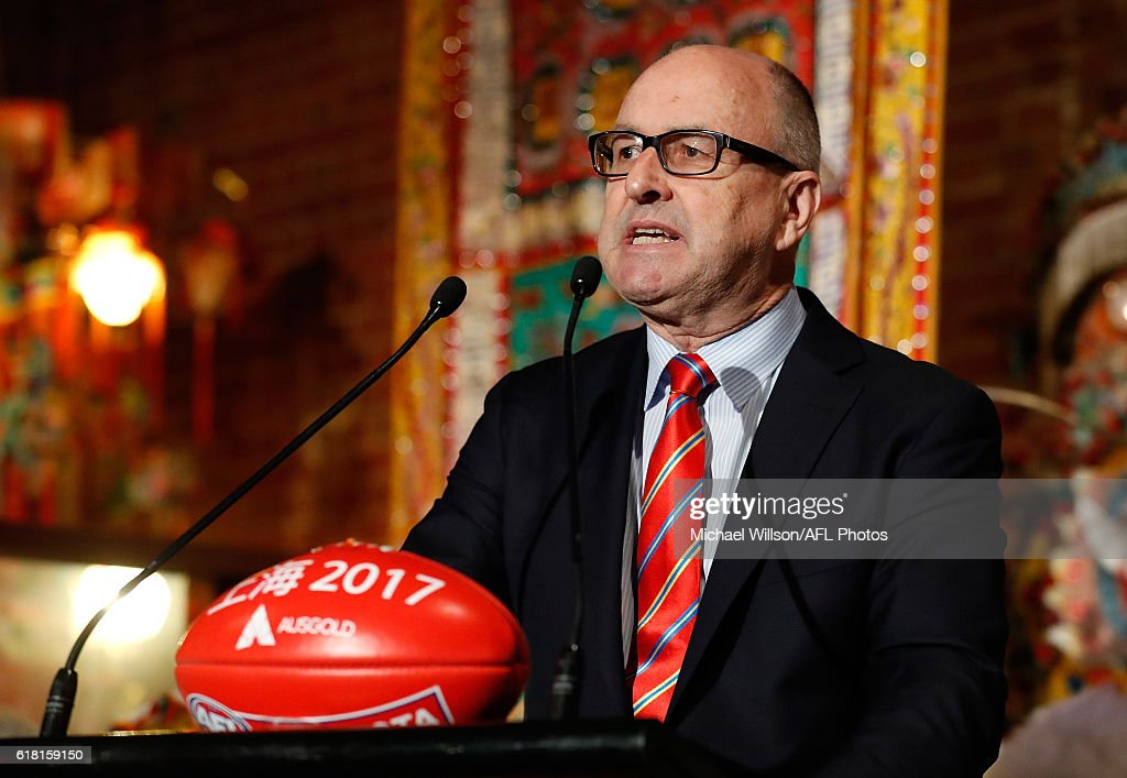 Suns Chairman Tony Cochrane speaks to the media during an AFL announcement at The Chinese Museum Melbourne on October 26, 2016 in Melbourne, Australia.