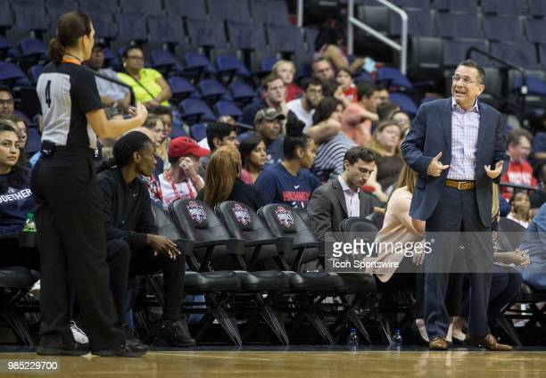 Suns coach Curt Miller argues with an official during a WNBA game between the Washington Mystics and the Connecticut Sun on June 26 at Capital One...