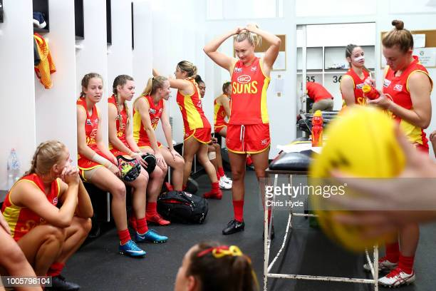 Suns prepare before the round two AFLW Winter Series match between the Gold Coast Suns and the Southern Giants at Southport on June 24 2018 in Gold...