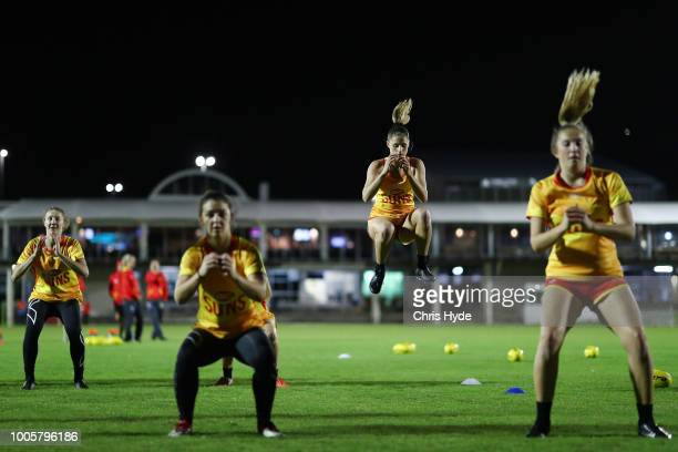 Suns training session ahead of the round two AFLW Winter Series match between the Gold Coast Suns and the Southern Giants at Southport on June 24...