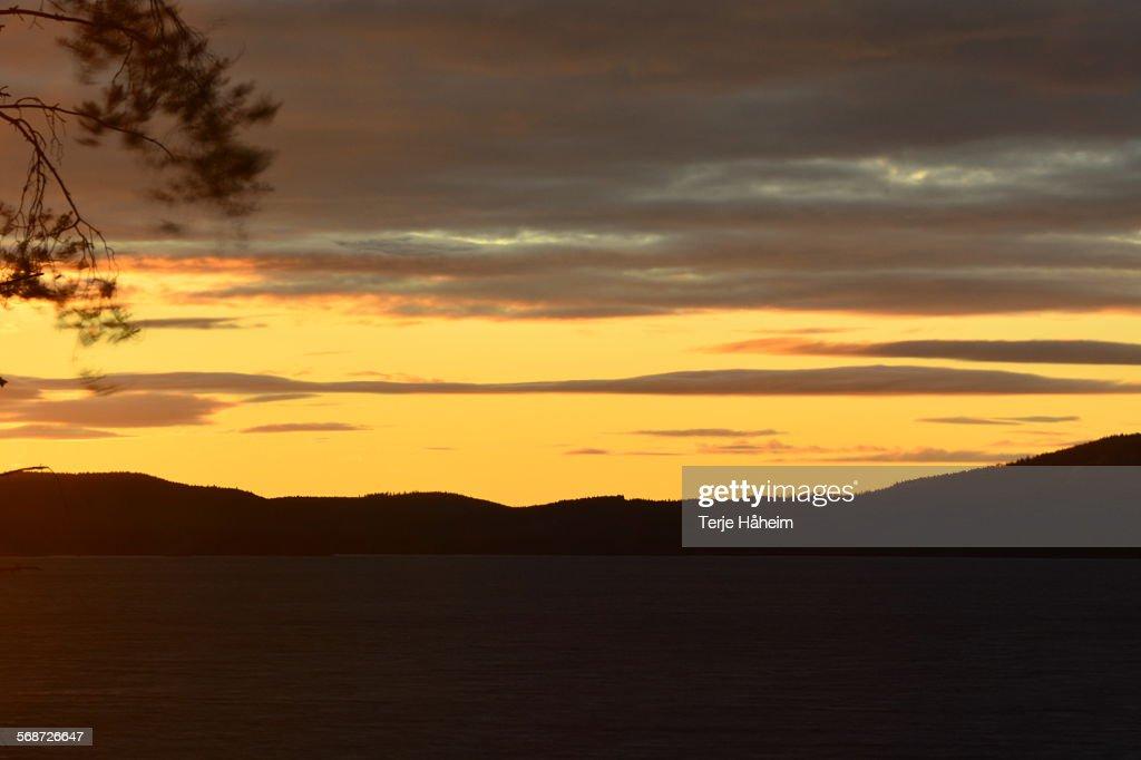 Sunser over the lake Skasen : Stock Photo