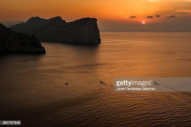 Sunset a Cap de Formentor. Mallorca island.