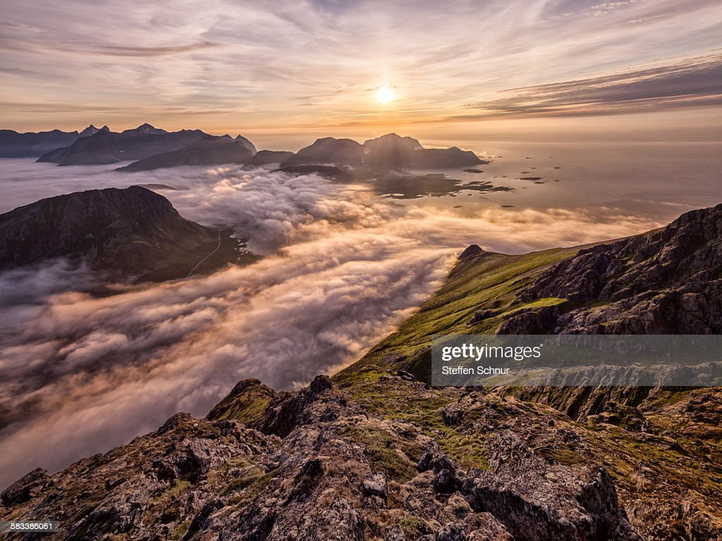Sunset above the clouds - mountains nature Lofoten : Stock Photo
