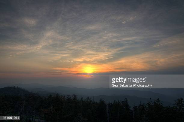 sunset above the clouds - newfound gap stock photos and pictures