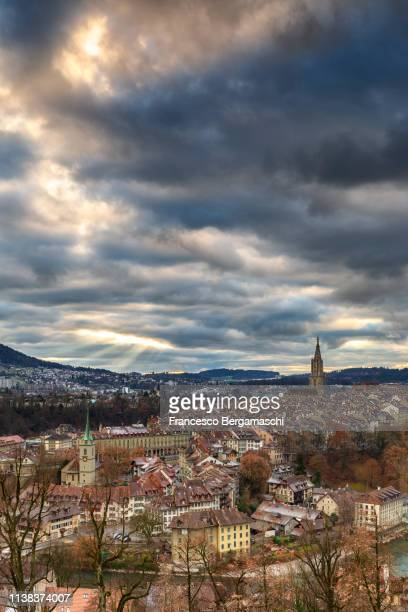 Sunset above the historical center. Bern, Canton of Bern, Switzerland, Europe.
