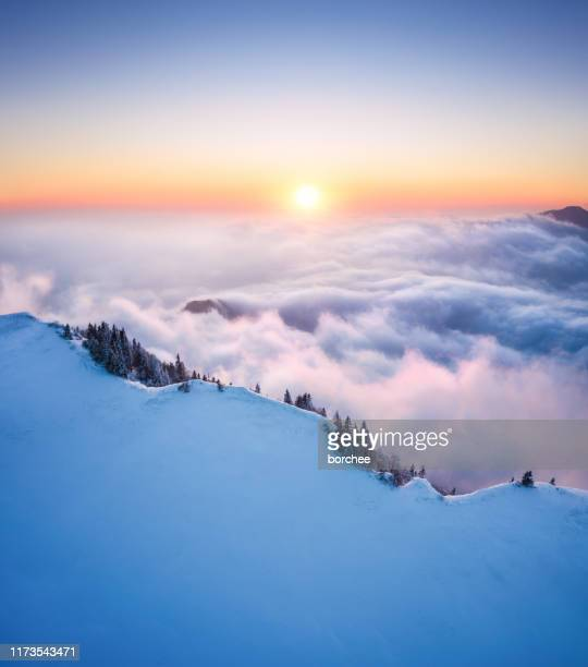 sunset above the mountain - awe stock pictures, royalty-free photos & images