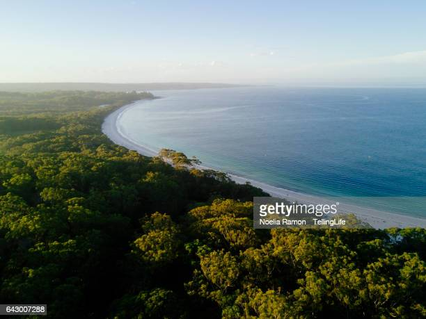 Sunset aerial view of sea and landscape, Jervis Bay, Australia