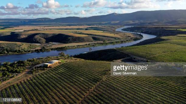 Sunset aerial view of the Sijnn Wines estate winery and vineyards along the banks of the Breede River on February 28, 2020 near Malgas in the Western...