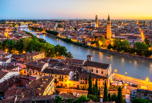 Sunset aerial view of Verona. Italy 1081376778