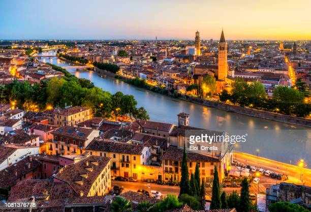 sunset aerial view of verona. italy - italy stock pictures, royalty-free photos & images